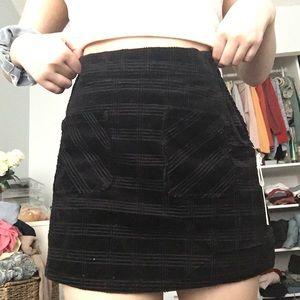 forever 21 corduroy plaid black skirt